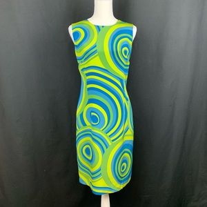 Grace Green/Blue 100% Silk Mini Dress. Size 12.